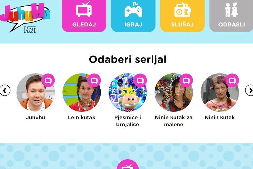 Igre za djecu i odabrane TV i radio emisije na portalu Juhuhu