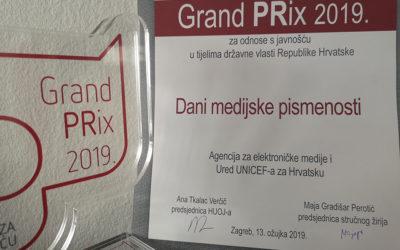 Projekt Dani medijske pismenosti osvojio Grand PRix HUOJ-a