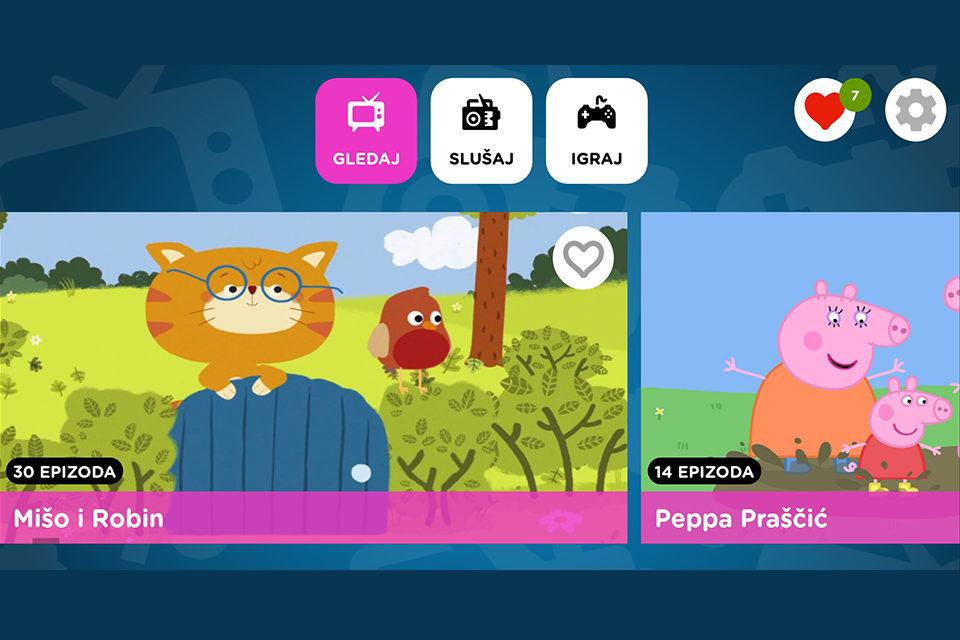 Aplikacija s crtićima, igrama i emisijama primjerenima i za najmlađe
